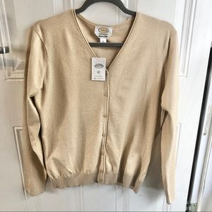 Talbots gold sparkle women's sweater. Size Large.